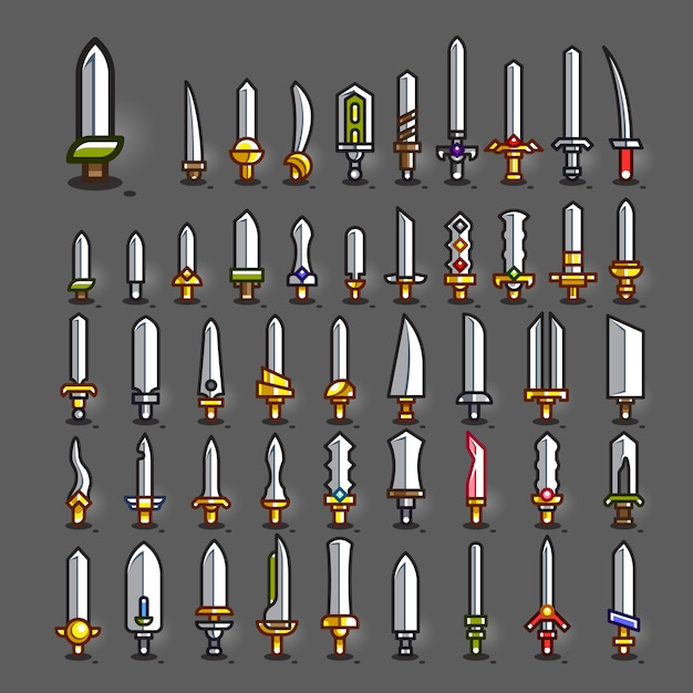 Swords for creating video games Premium Vector