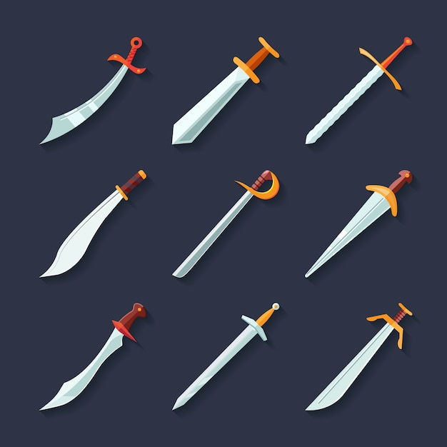 Swords knives daggers sharp blades flat icon set isolated vector illustration Free Vector