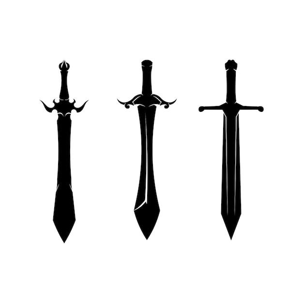 Swords silhouette collection Premium Vector