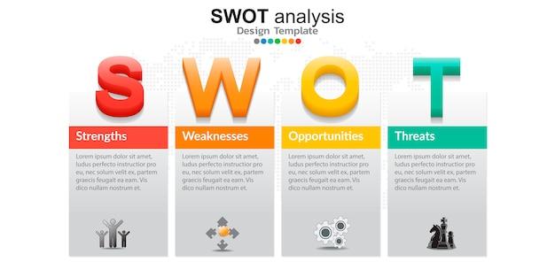 Swot分析用のアイコンを持つ4つのカラフルな要素 Premiumベクター