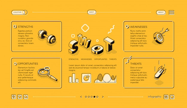 Swot analysis business illustration in isometric thin line design on yellow halftone Free Vector