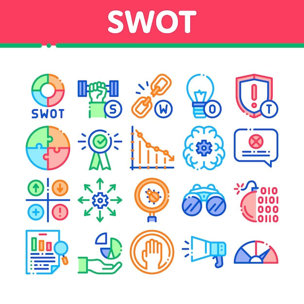 Swot analysis strategy collection icons set Premium Vector
