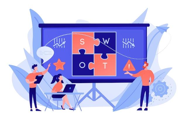 Team di analisi swot che lavora sull'elenco delle tue opportunità, strategie e monitoraggio. analisi e matrice swot, concetto di pianificazione strategica Vettore gratuito