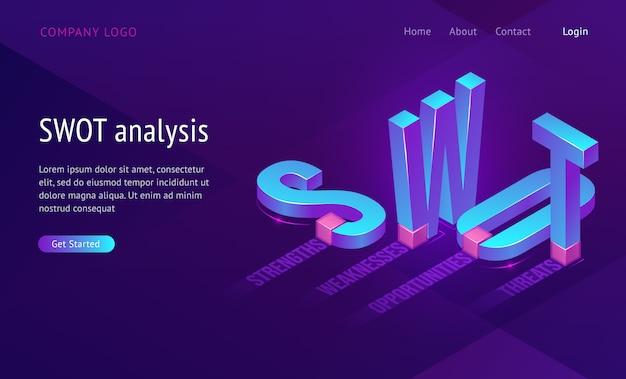 分析、強み、弱み、機会、脅威という言葉の略語を含むswotアイソメトリックランディングページ。ビジネスコンセプト、3 dの文字が立って、紫色の背景、webバナーの上に横たわる 無料ベクター