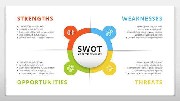 Шаблон swot или стратегическое планирование инфографики дизайн Premium векторы