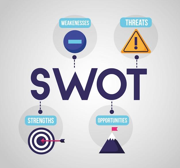 Swot - инфографический анализ Бесплатные векторы
