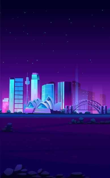 Sydney, australia skyline with opera house banner Free Vector