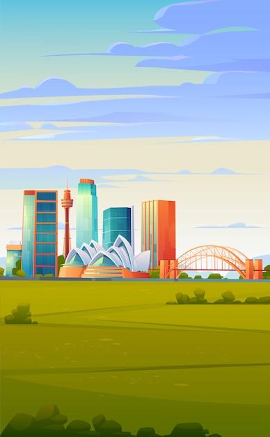 Сидней, австралия - линия горизонта с оперным театром Бесплатные векторы