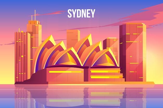 Сидней город небоскребов, австралия всемирно известный символ Бесплатные векторы