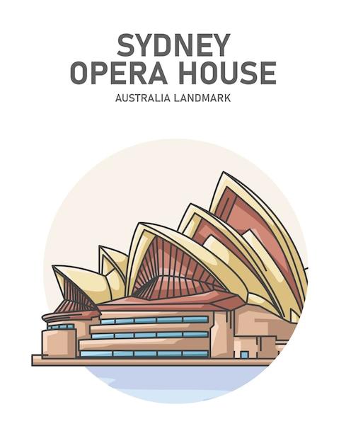 Сиднейский оперный театр австралийская достопримечательность плакат Premium векторы