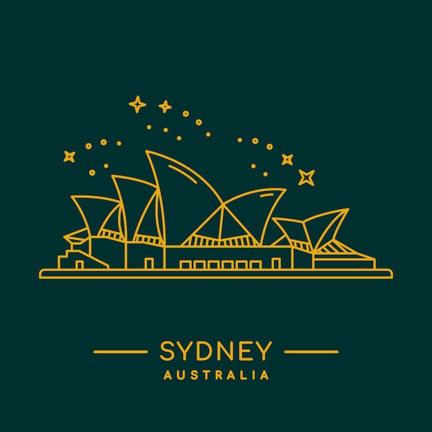 Sydney opera house vector illustration. Premium Vector