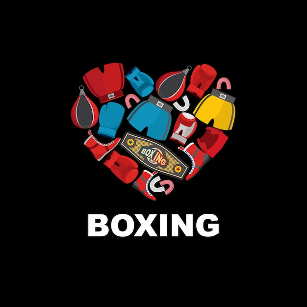 Symbol of the heart of boxing gear: helmet, shorts and boxing gloves. i love boxing. Premium Vector