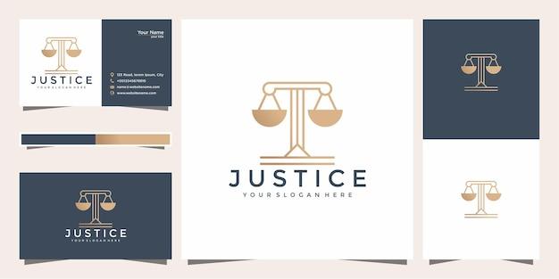 Символ адвокат адвокат адвокат шаблон линейный стиль логотипа компании и визитной карточки. Premium векторы