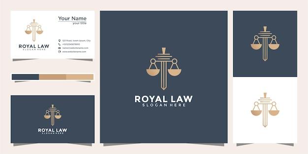 Символ адвокат поверенный выступает за шаблон линейного стиля. щит меч юридическая фирма охранная компания логотип и визитка Premium векторы