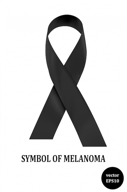 Symbol of melanoma. black ribbon - a sign of condolence. vector illustration Premium Vector