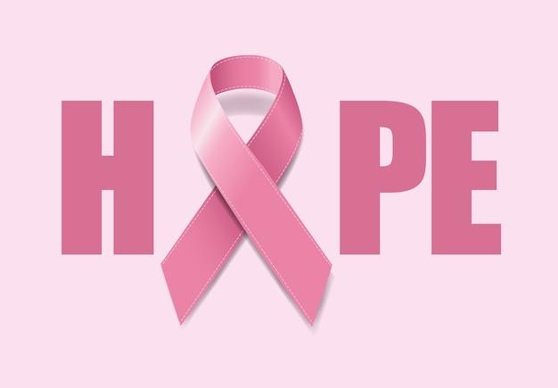 リアルなピンクリボンで乳がん啓発のシンボル Premiumベクター