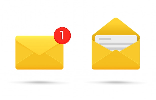 Symbol or sms notification on electronic devices. Premium Vector