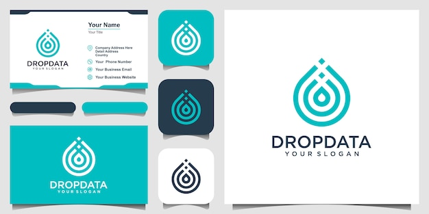 Symbol water with line art style. droplet or olive oil with line art style for mobile concept and web . set of logo and business card Premium Vector