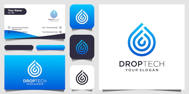 Symbol water with line art style. droplet with line art style for mobile concept and web . set of logo and business card design Premium Vector