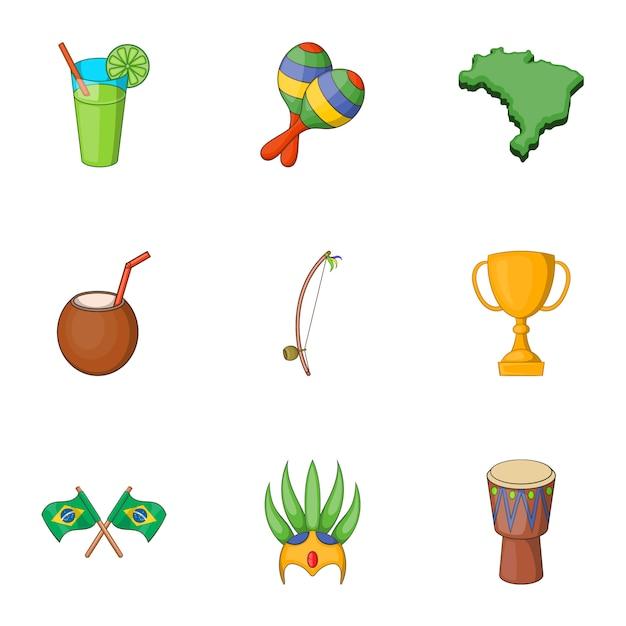 Symbols of brazil icons set, cartoon style Premium Vector