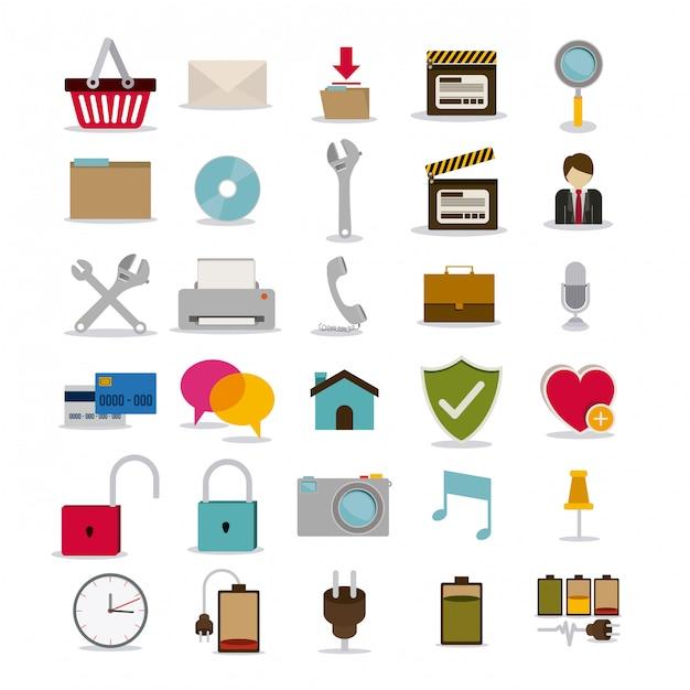 Symbols design over white illustration Premium Vector