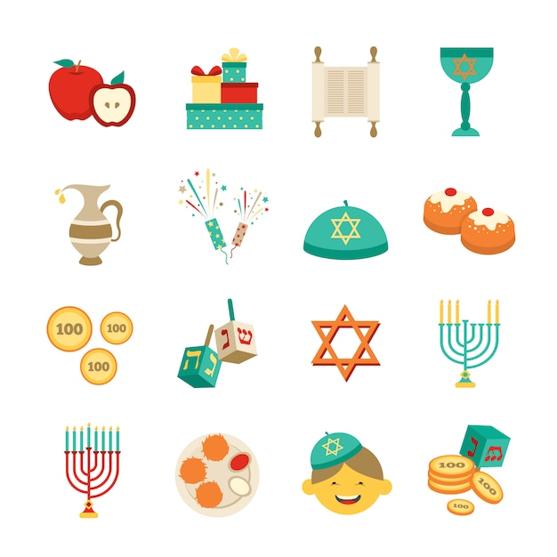 Symbols of hanukkah icons set Free Vector