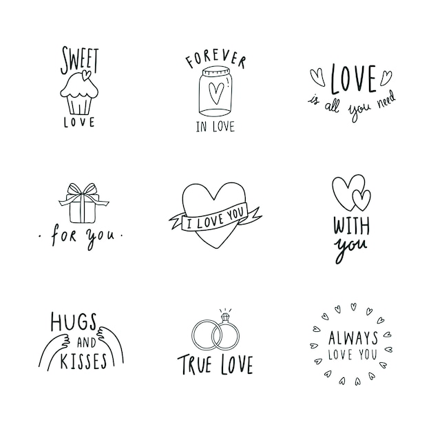 Symbols of love icon set vector Free Vector