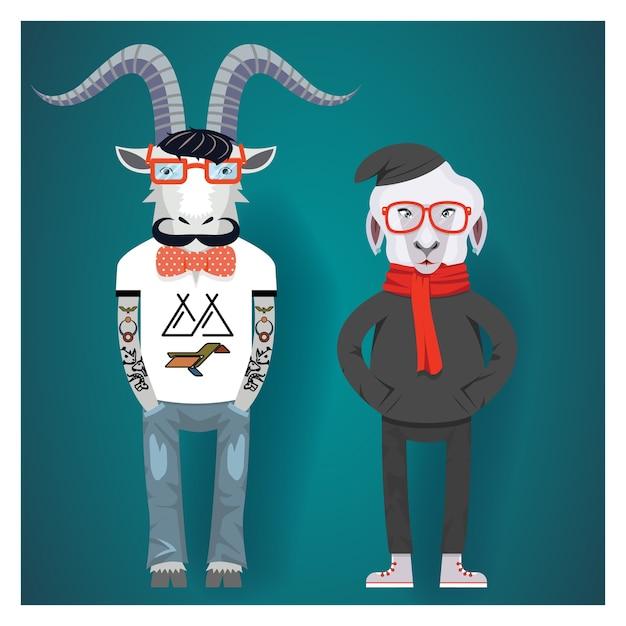 中国の旧正月のシンボル-流行に敏感な服を着た山羊と羊。 無料ベクター
