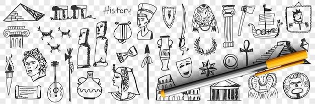 역사 낙서 세트의 상징 프리미엄 벡터