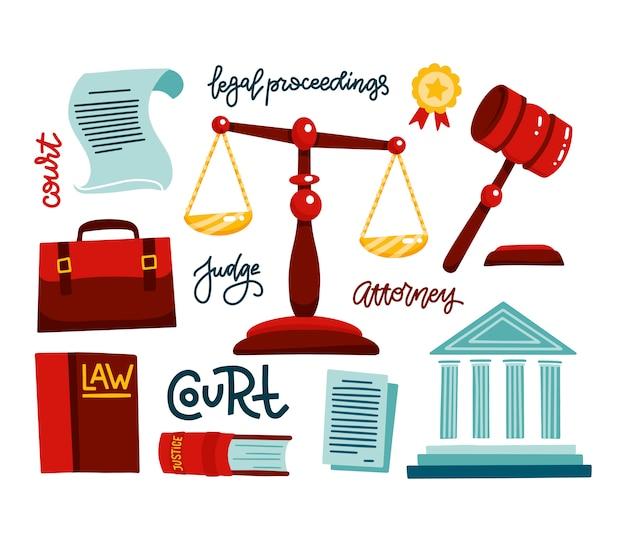 法的規制のシンボル。法人のアイコンを設定します。司法、裁判、判決、法律、小槌。裁判官ポートフォリオ、裁判所。手描きの法的手続きをレタリングフラットベクトルイラスト Premiumベクター