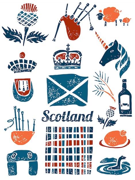 Symbols of scotland set in lino style Premium Vector