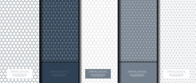 Symmetric collection abstract pattern hexagonal geometric navy background Premium Vector