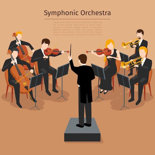 交響楽団。音楽コンサートと音の交響曲、器楽のリズム 無料ベクター
