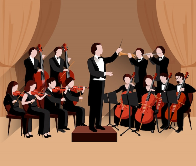 Symphonic orchestra with conductor violins cello and trumpet musicians Free Vector