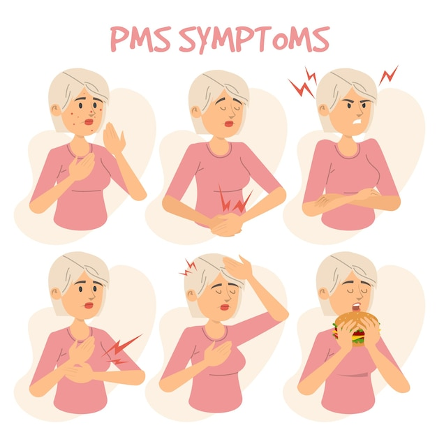 Pmsの症状女性の人のイラスト Premiumベクター