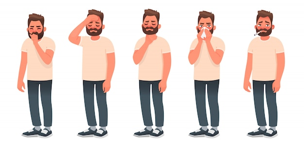 Symptoms of a viral infection and respiratory illness. a sick man coughs and sneezes. headache, sore throat, runny nose, fever. Premium Vector