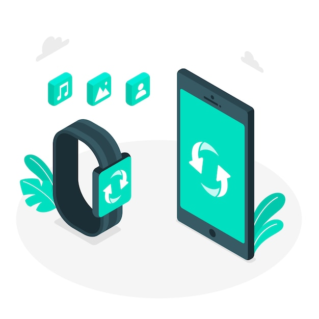 Sync concept illustration Free Vector