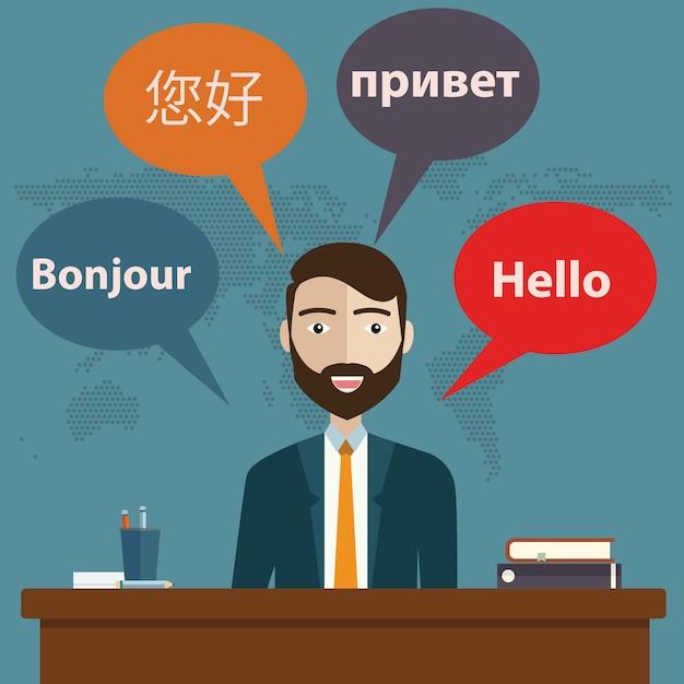Synchronic translation services Premium Vector