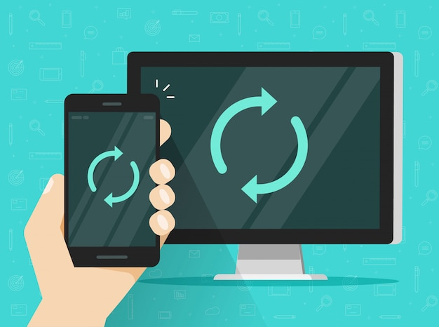 Synchronization of cellphone or mobile phone and computer pc illustration Premium Vector