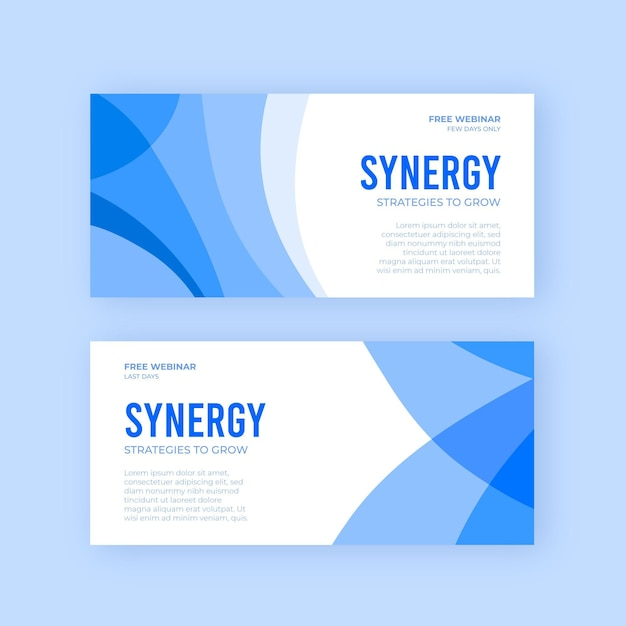 Synergy business banners designs Free Vector