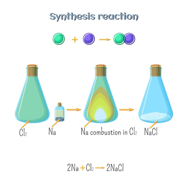 Synthesis reaction - sodium chloride formation Premium Vector