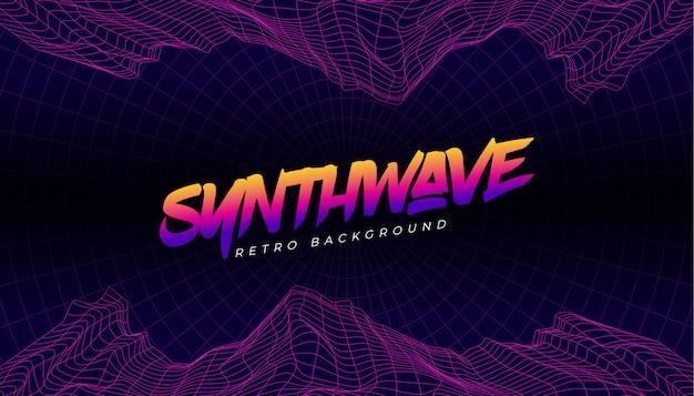 Synthwave 3d background landscape 80s style Vector | Premium Download