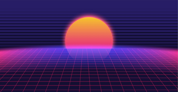 Synthwave 3d background landscape 80s style Premium Vector