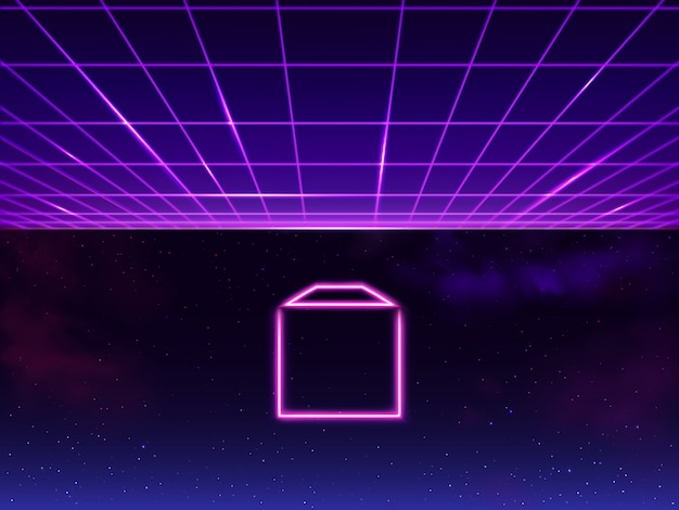 Synthwave neon grid futuristic background with folder icon in space, retro sci-fi 80s 90s. futuresynth rave, vapor party Free Vector