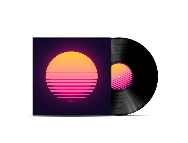 Synthwave、vaporwave、retrowave音楽lpビニールディスクレコードのモックアップは、白い背景で隔離。音楽プレイリストまたはアルバムカバーのテンプレート。図 Premiumベクター