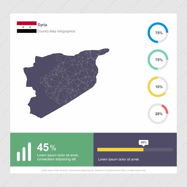 Syria Map Flag Infographics Template Vector