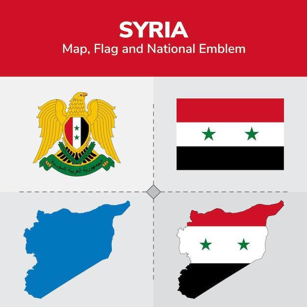Syria map, flag and national emblem Vector | Premium Download