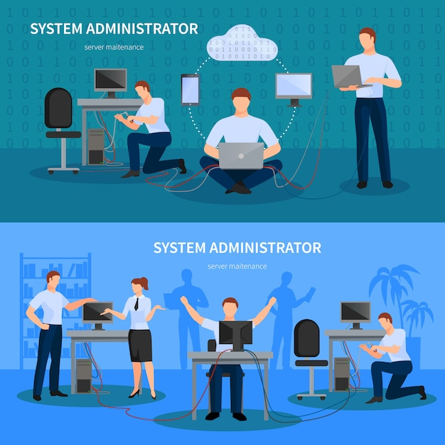 System administrator banners set Free Vector