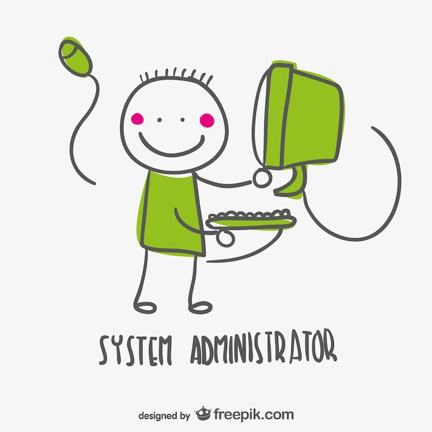 System Administrator Cartoon Vector  Free Download