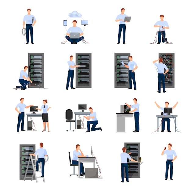 System administrator flat icons set Free Vector